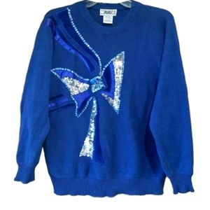 Vintage Sequin & Velvet Bow Sweater